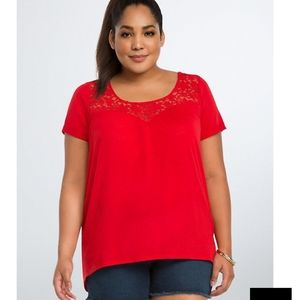 Torrid lace inset swing tee cutout back red